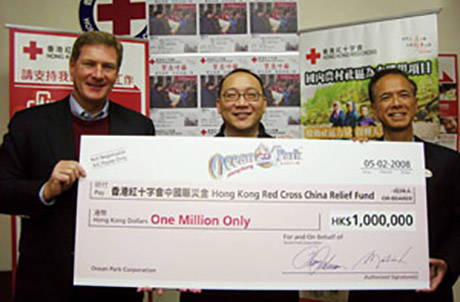 Pictured here is Ocean Park Chief Executive Tom Mehrmann (left) and Deputy Chief Executive Matthias Li (right), presenting a HK$1,000,000 cheque to Mr. Wilson Wong, Deputy Secretary General of Hong Kong Red Cross.