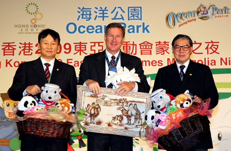 Photo 1: (From left) Dr Zagdsuren Demchigiav, Mr. Tom Mehrmann and the Hon. Timothy Fok, exchanged souvenirs on stage