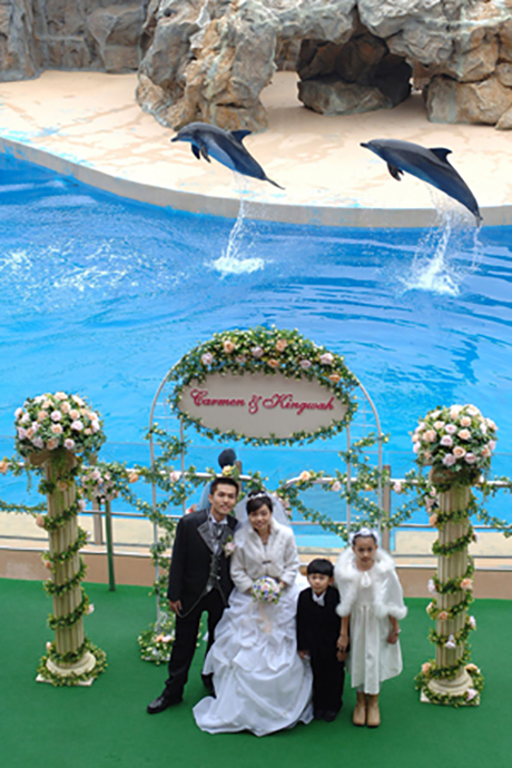 Ocean Park Mascot Whiskers witnessed the first-ever wedding couple in Ocean Park; Mr. Lok King Wah and Ms. Wong Ka Man have their wedding ceremony at Ocean Park's Ocean Theatre