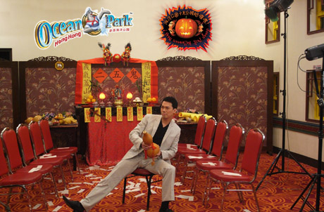 """""""Laughing Gor"""" (Michael Tse Tin-wah) acting in the TV commercial of the Ocean Park Halloween Bash"""
