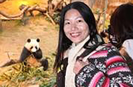"""""""This is the first time I have seen giant pandas up close. They are really cute and I'm very happy to meet our national treasures here""""; said Shenzhen-based Miss Huang, who is in Hong Kong for the first time."""