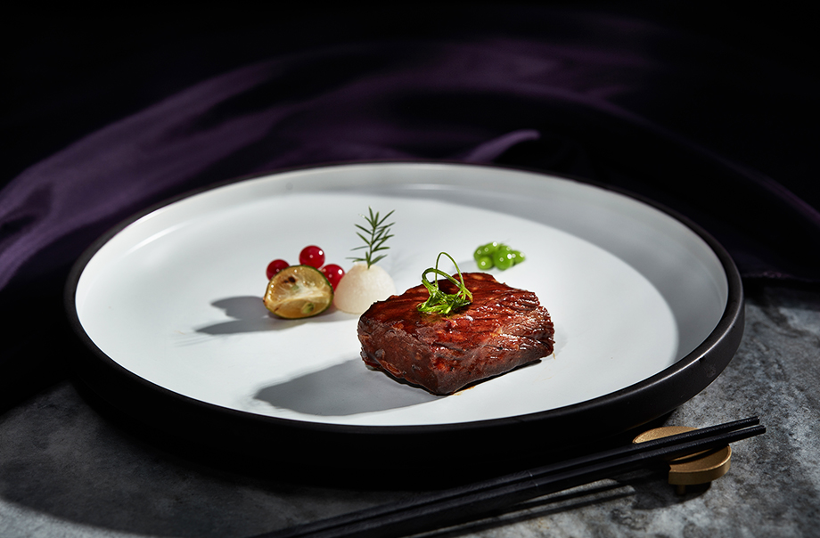 Traditional Stewed Beef Short Ribs in Hamada VII 540 Days Naturally Brewed Soy Sauce Garnished with Fresh Pear and Red Currants